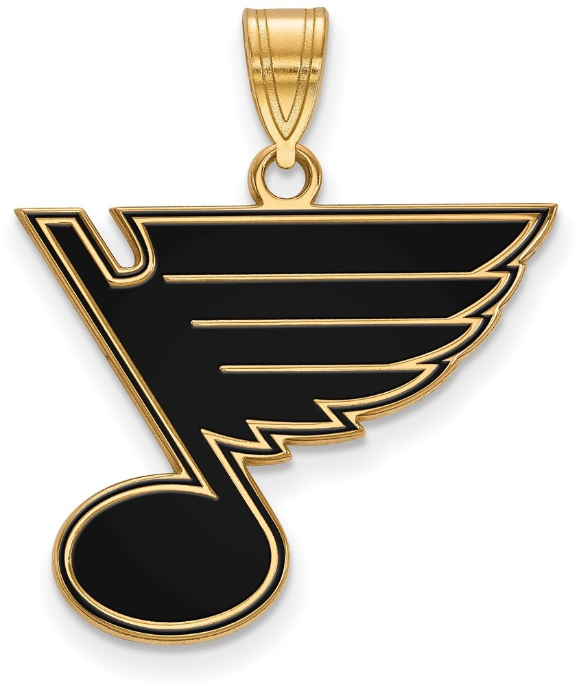 gold plated sterling silver nhl st louis blues large enamel pendant by logoart. Black Bedroom Furniture Sets. Home Design Ideas
