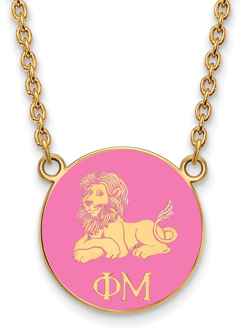 gold plated sterling silver phi mu small pendant necklace