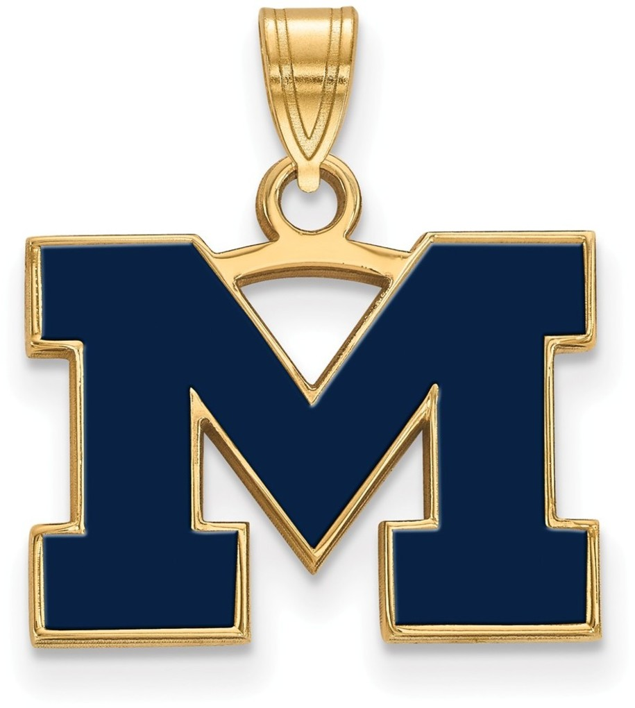 Gold Plated 925 Silver Michigan (University Of) Sm Blue Enamel Pendant LogoArt