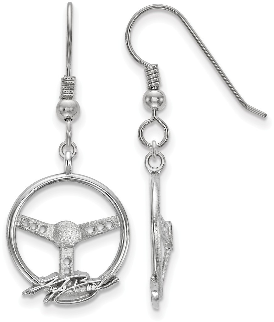 NASCAR - Sterling Silver Steering Wheel Driver Name Kyle Busch Earrings LogoArt