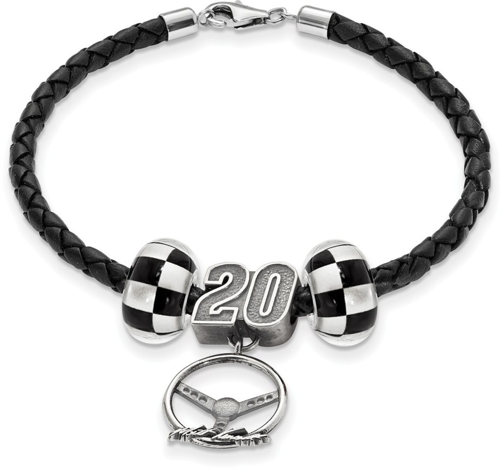 NASCAR Sterling Silver Leather Bracelet 2 Crossed Flag #20 Bead Steering LogoArt
