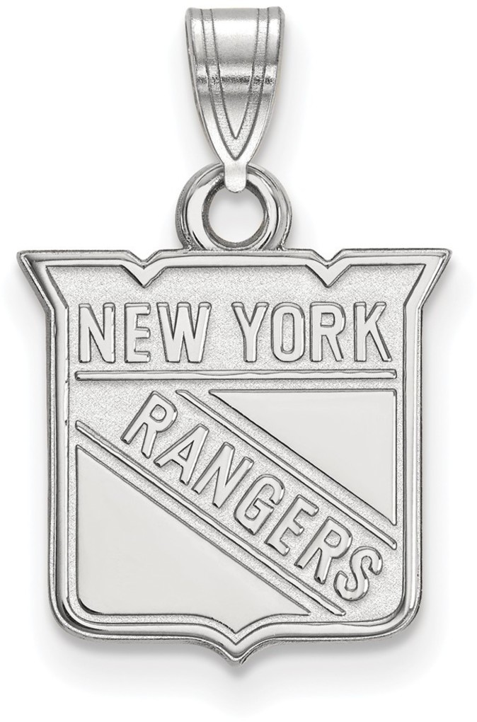 10K White Gold NHL New York Rangers Small Pendant by LogoArt
