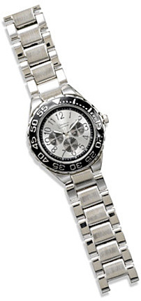 Mens Silver Tone Fashion Watch with Black Dial