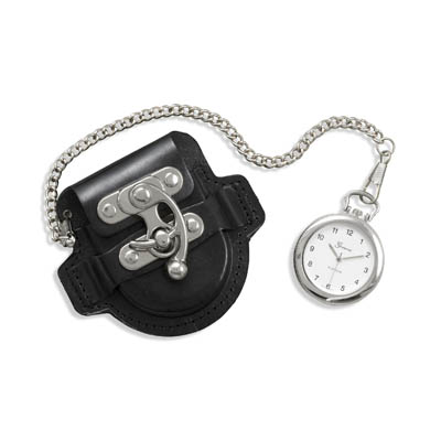 Men's Fashion Pocket Watch with Black Leather Case - DISCONTINUED