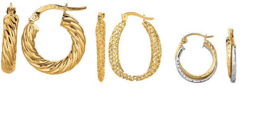 14K yellow gold hoop earrings, as well as white & rose gold, on sale now.
