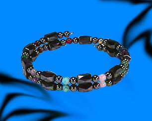 Living Colors Small Wrap Around - Hematite Magnetic Therapy Bracelet/Anklet (HB-34)