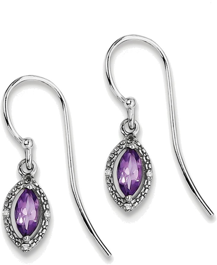 Sterling Silver Rhodium Plated Diamond & Amethyst Marquise Earrings