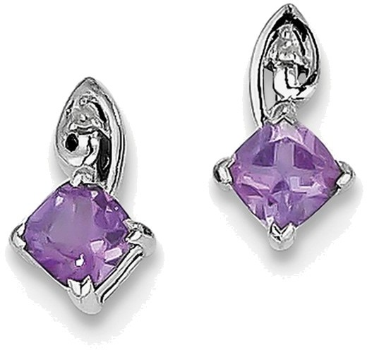 Sterling Silver Rhodium Plated Diamond Amethyst Post Earrings