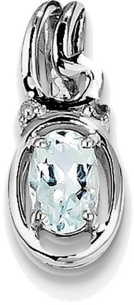 Sterling Silver Rhodium Plated Diamond Aquamarine Oval Pendant QP2988AQ