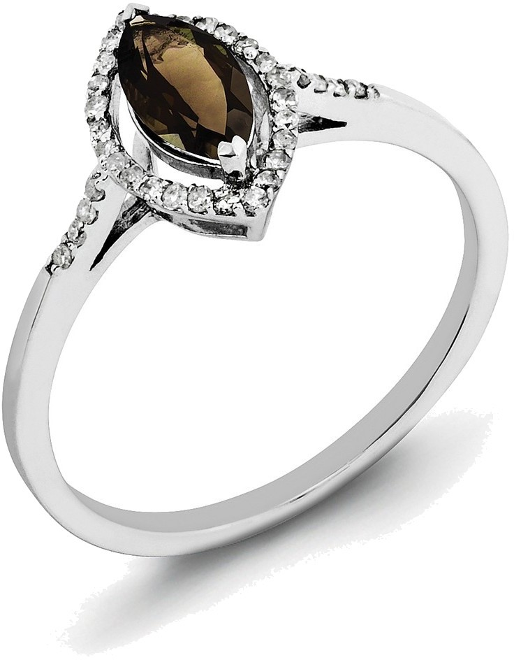 sterling silver rhodium smoky quartz ring qr3088sq