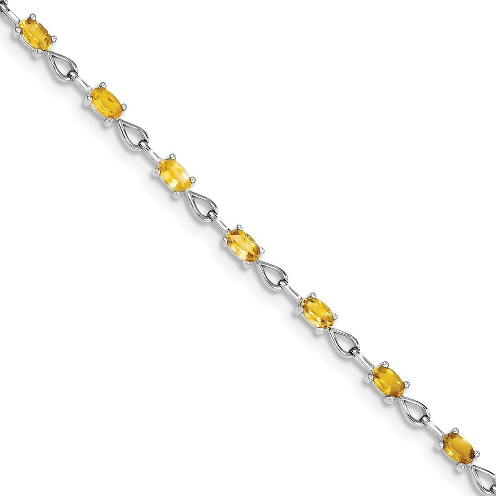 "7.5"" Sterling Silver Rhodium-plated Oval Citrine Cutout Link Bracelet"