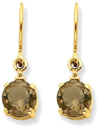 14K Yellow Gold Smoky Quartz & Diamond Dangle Earrings