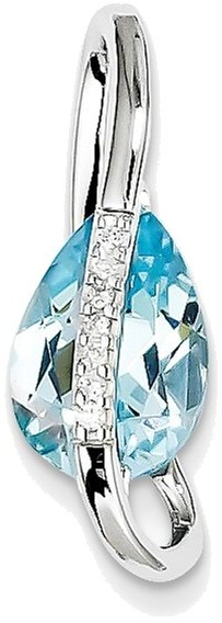 14K White Gold Blue Topaz & Diamond Slide Pendant