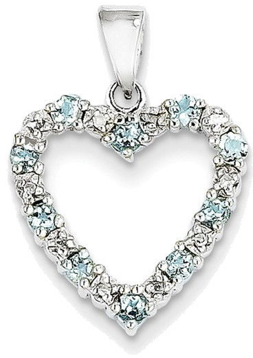 14K White Gold Diamond & Aquamarine Heart Pendant - DISCONTINUED