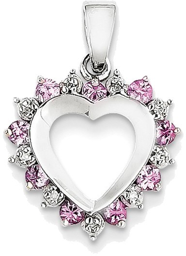 14K White Gold Diamond and Pink Created Sapphire Heart Pendant