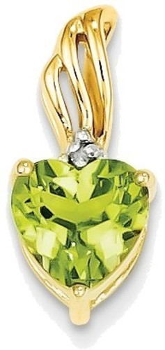 14K Yellow Gold Diamond and Peridot Heart Pendant XP4007PE/AA