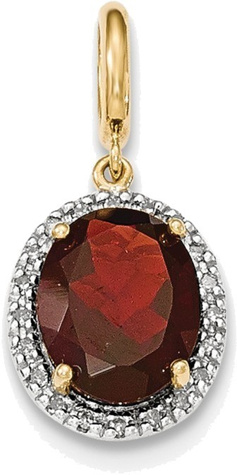14K Yellow Gold Garnet w/Diamond Halo Pendant XP4495GA