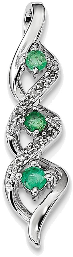 14K White Gold Emerald & Diamond Chain Slide Pendant