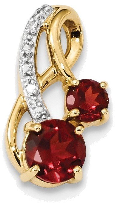 14K Yellow Gold w/ Mozambique Garnet & Diamond Polished Pendant XP5163GA/AA