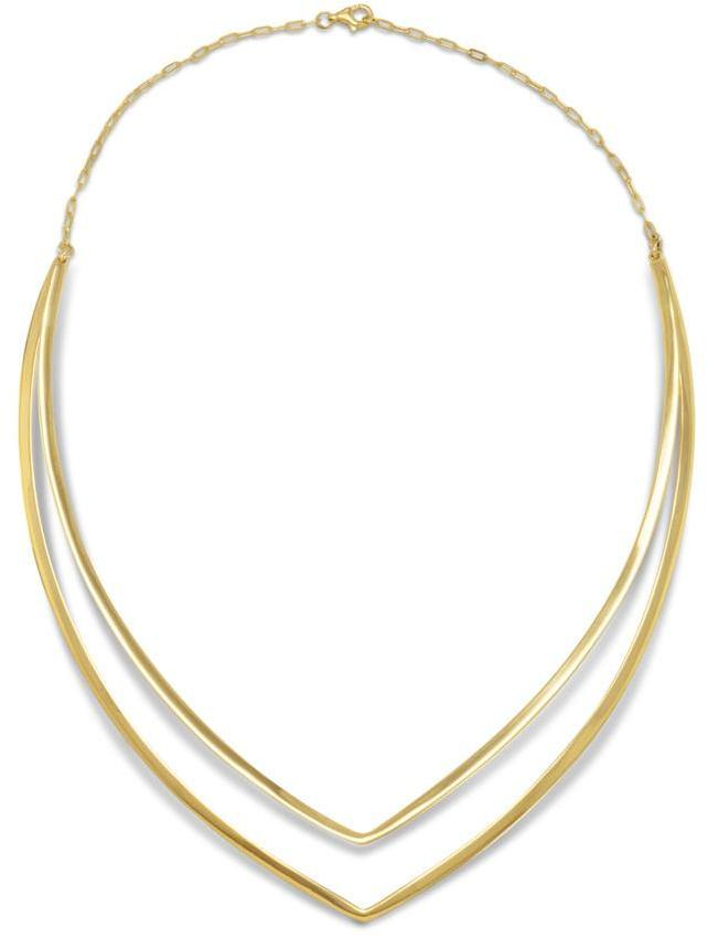 "18"" 14 Karat Gold Plated Double ""V"" Collar 925 Sterling Silver"