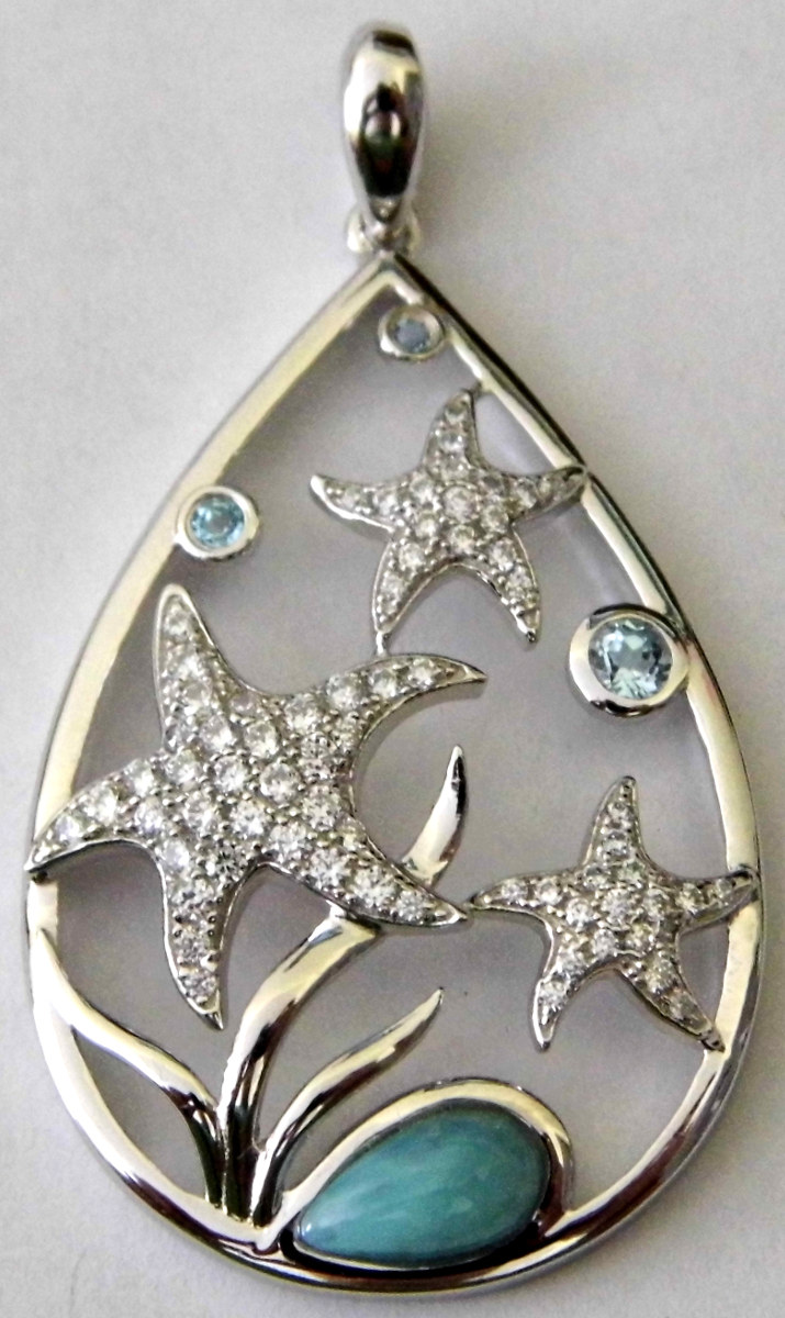 Sterling Silver Larimar, CZs & Blue Stones Starfish Cutout Pendant