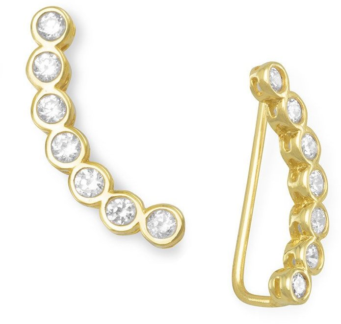 14 Karat Gold Plated Bezel CZ Ear Climbers 925 Sterling Silver