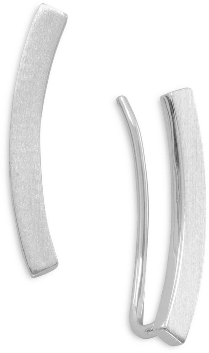 Rhodium Plated Curved Bar Ear Climbers 925 Sterling Silver