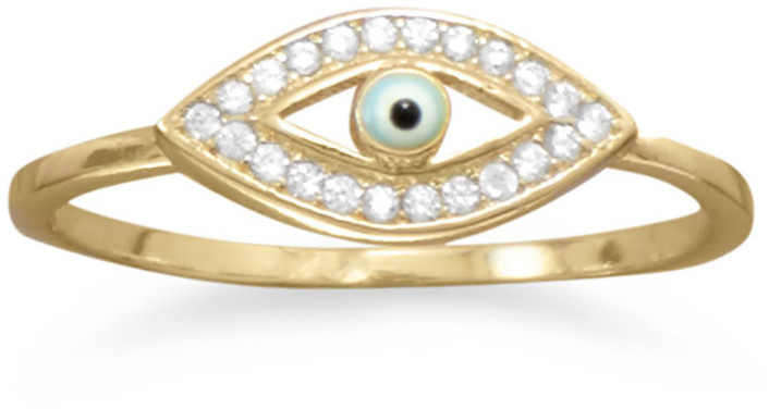 14 Karat Gold Plated CZ Evil Eye Ring