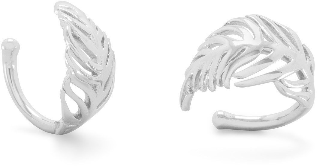 Rhodium Plated Feather Ear Cuffs 925 Sterling Silver