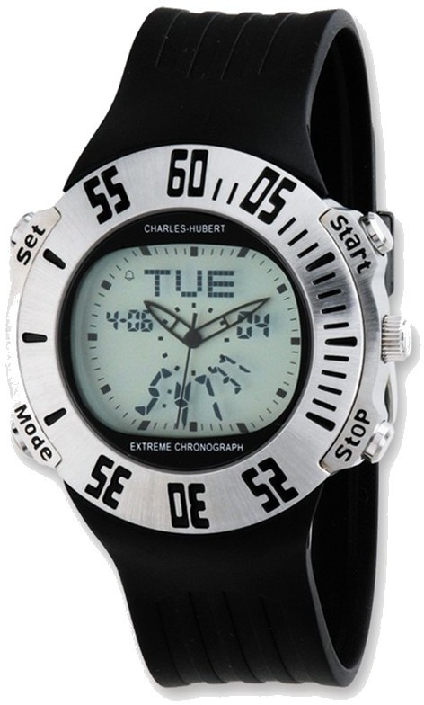 Mens Charles Hubert Rubber Band Silver Digital Dial Alarm Chronograph Watch