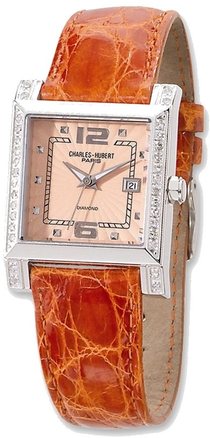 Ladies Charles Hubert 0.42ctw Diamond Leather Peach 29x28mm Dial Watch