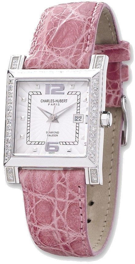 Ladies Charles Hubert 0.42ctw Diamond 29x28mm Bezel Pink Leather Watch