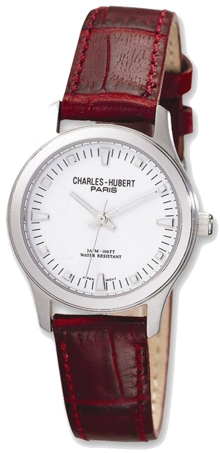 Ladies Charles Hubert Brown Leather Band White Dial Watch