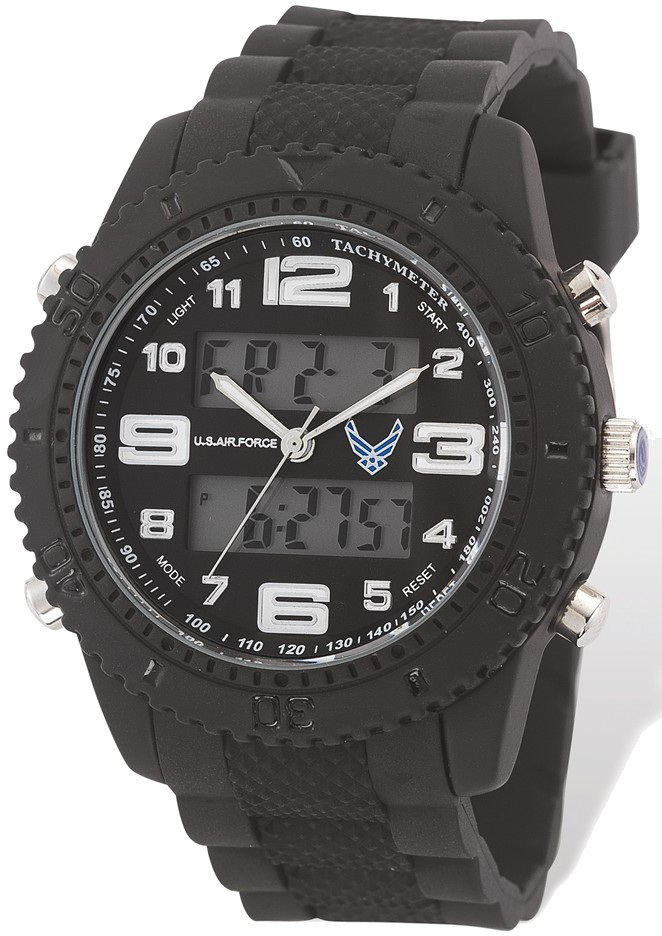 US Air Force Wrist Armor C27 Watch, Black/White Dial & Black Rubber Strap