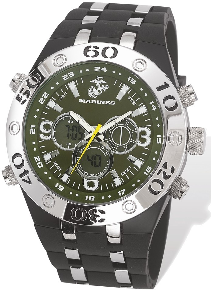 US Marines Wrist Armor C23 Watch, Green Dial & Black Rubber Strap