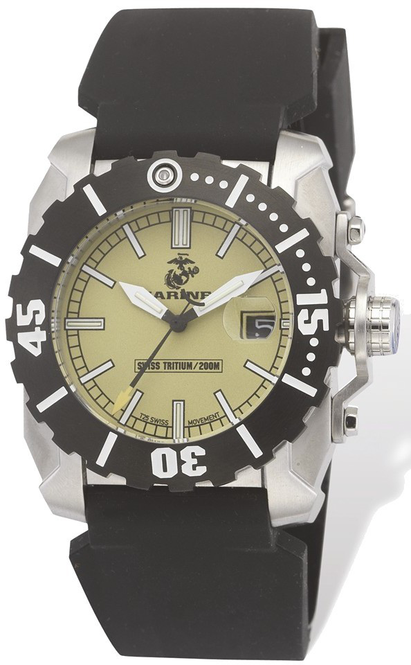 US Marines Wrist Armor Black Rubber Swiss Quartz Tritium Watch