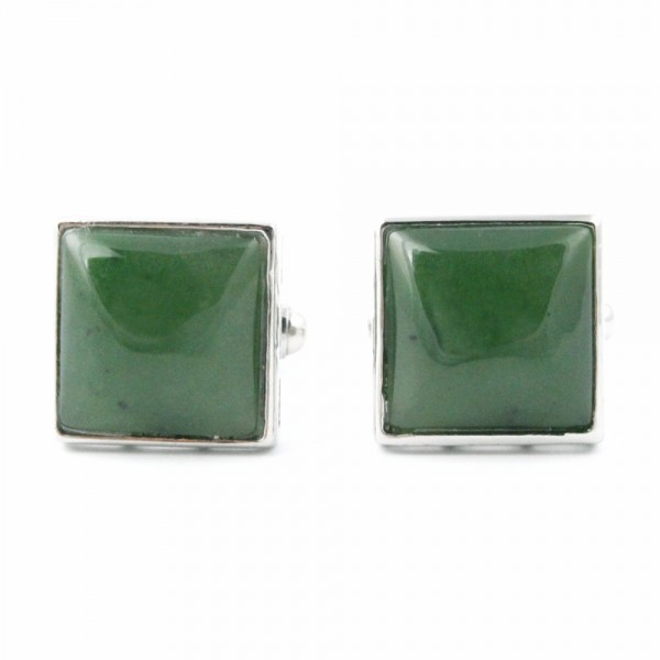 Jade Square Cufflinks on Sugical Steel