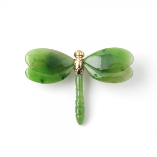 Jade Dragonfly Pin in Vermeil