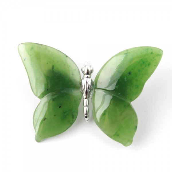 Jade Butterfly Pin Sterling Silver