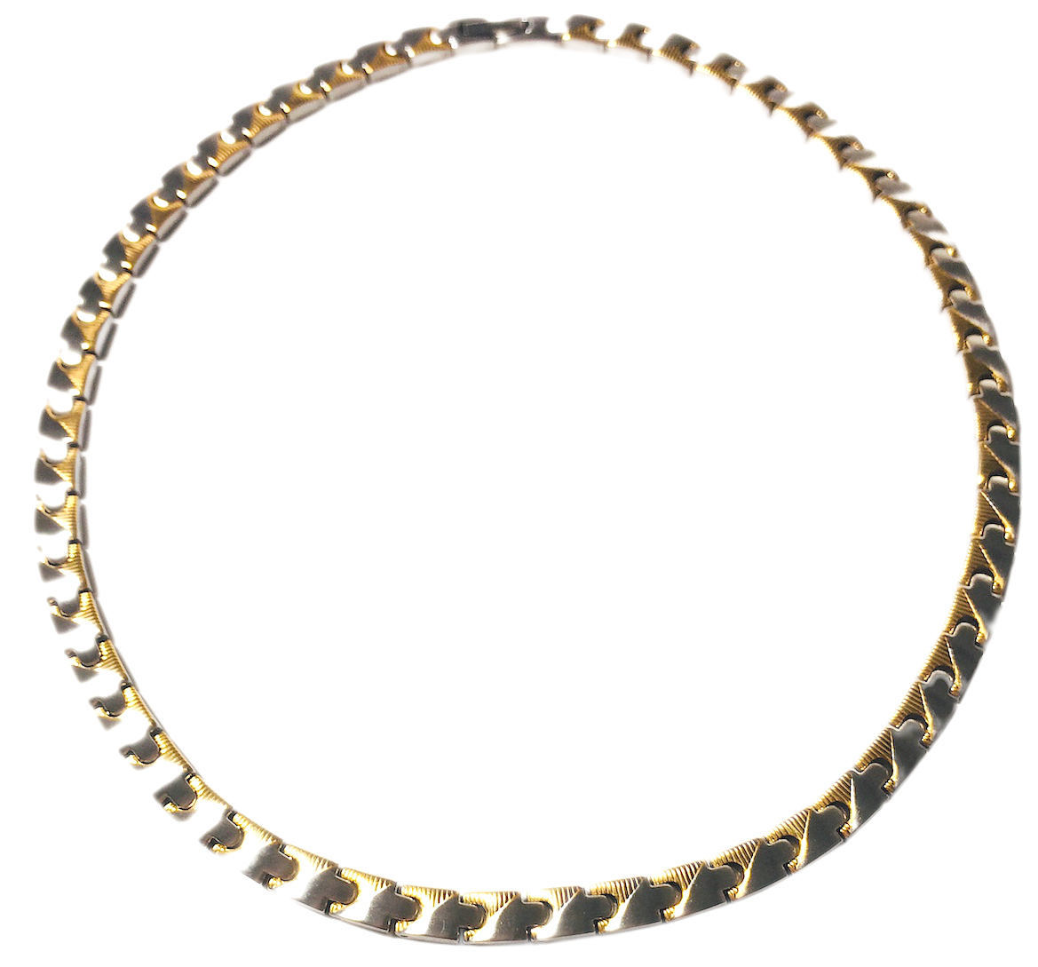 "18.5"" Gold-Tone Caps - Stainless Steel Magnetic Therapy Necklace - New!"