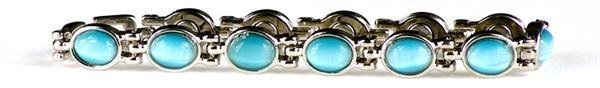 Simulated Aquamarine (March) - Magnetic Therapy Bracelet (A-CE) - DISCONTINUED