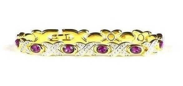 Simulated Amethyst (February) - Magnetic Therapy Bracelet (BS-2)