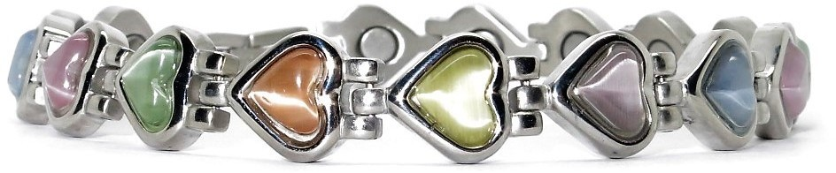 Mixed Color Heart Simulated Gemstone - Stainless Steel Magnetic Therapy Bracelet (CSS-301)