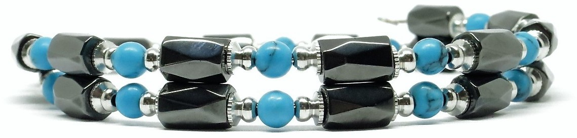 Simulated Turquoise Small Wrap Around - Hematite Magnetic Therapy Bracelet-Anklet (HB-25)