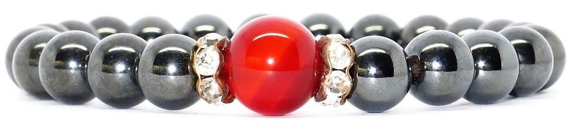 Hematite & Single Simulated Red Agate- Magnetic Therapy Bracelet (HRCZ-B)