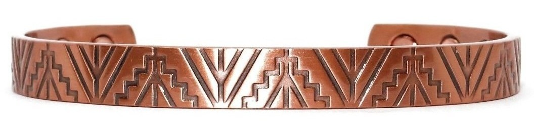 Mayan Steps - Solid Copper Magnetic Therapy Cuff Bracelet (MBG-033)