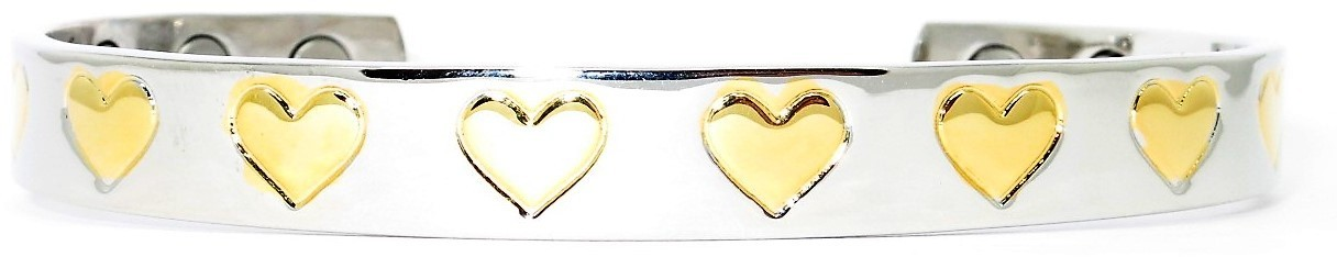 Golden Hearts -  Solid Copper Magnetic Therapy Bracelet (MBG-5036) - NEW!