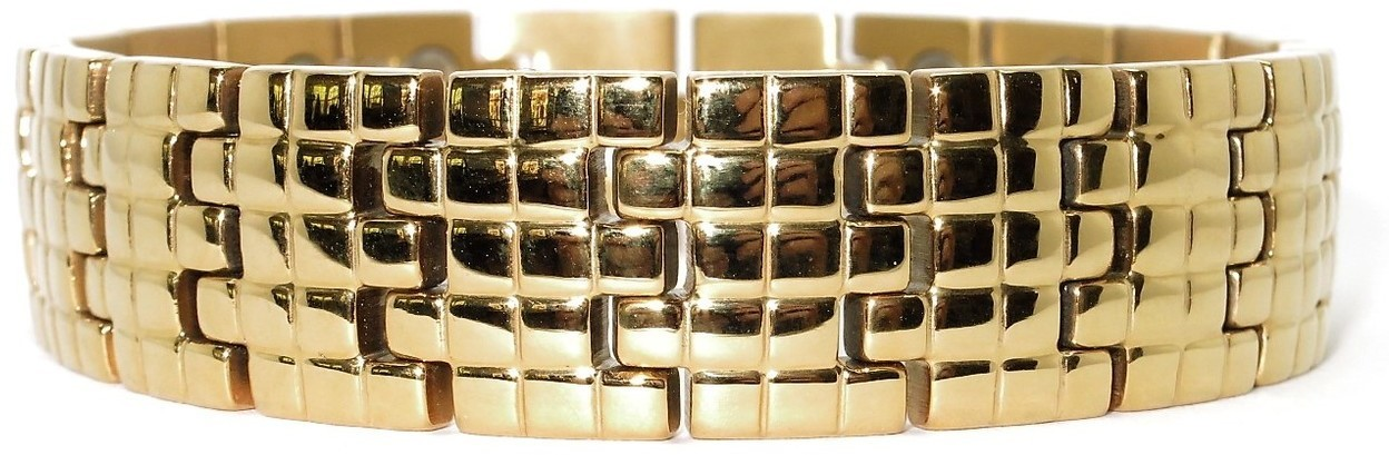 Golden Squares (two 5,000 gauss) - Stainless Steel Magnetic Therapy Bracelet (SS2605002)