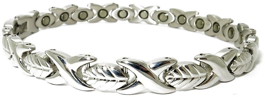 Silver Leaves - Stainless Steel Magnetic Therapy Bracelet