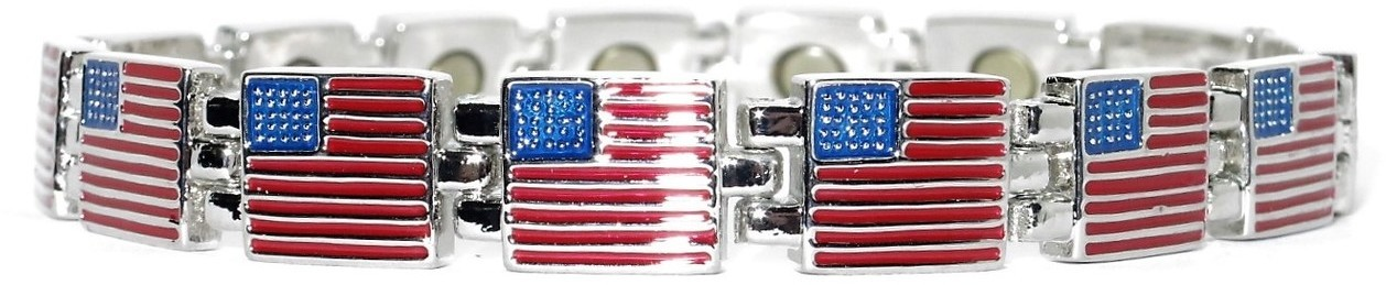 Silver Flags  - Stainless Steel Magnetic Therapy Bracelet